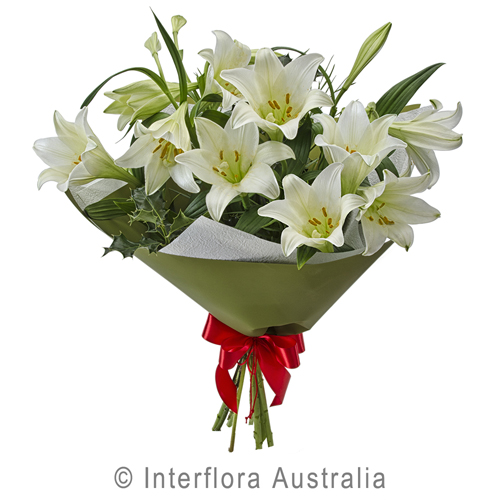 Bouquet of White Christmas Lilies