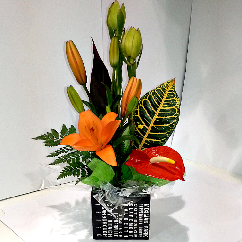 A Box Arrangement of Tropical Flowers being delivered to Kwinana Marketplace