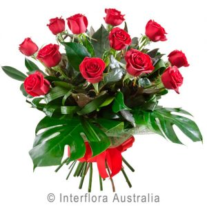 Bouquet of 12 Red Roses for Valentine's Day from Hanging Basket Florist Rockingham