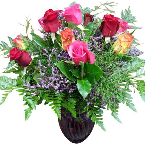 Wedding Flowers Rockingham Wa : Medium stem roses in vase mixed colours hanging