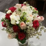 Brides Bouquet with Roses, Freesias, Geraldton Wax