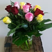 12 Mixed Roses with Vase (40cm)