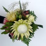 Native Wedding Bouquet with King Protea and Blushing Bride