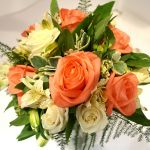 Brides Posy with Coral Roses
