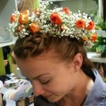 Flower Crown with Orange Roses and Babies Breath