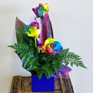 Rainbow Roses on special at Hanging Basket Florist Rockingham