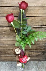 Bud Vase with Teddy